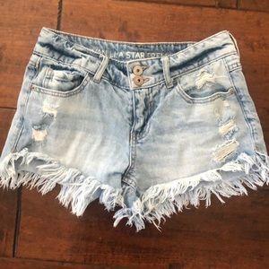 High Waisted Frayed Denim Shorts